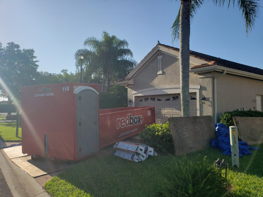 Naples, FL - Starting a new project in the Vineyards this warm sunny morning! Dumpster is in place , plywood is in place, tarps are covering the screens to avoid any unnecessary damage to the property.