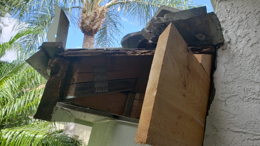 Naples, FL - When rotted fascia is uncovered, it needs to be replaced. We removed the old fascia in pelican Marsh and installed premium cedar boards to match the existing. We also installed new metal at the roof to wall junction to prevent it from leaking in the future.
