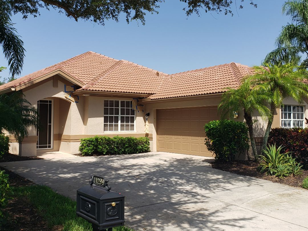 Fort Myers, FL - A Boral Estate Carmel tile roof with brand new gutters makes this house in Gateway look like new!