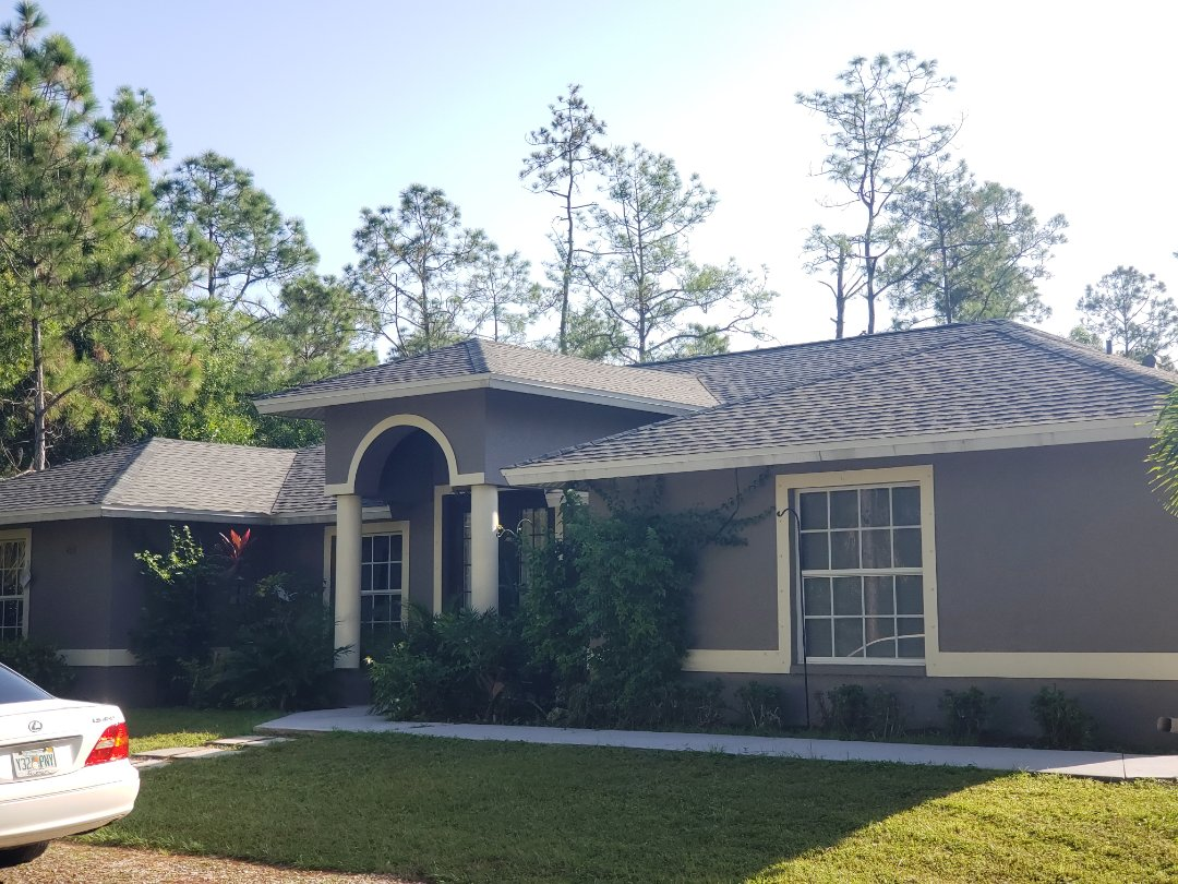 Naples, FL - A beautiful new GAF Timberline shingle installed in the Golden Gate Estates area! We had to remove the shotty work from the previous contractor and do it the right way.  Ice and water shield installed as a secondary water barrier throughout the roof.