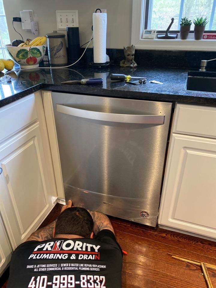 Ellicott City, MD - Replacing dishwasher and shut off valve.
