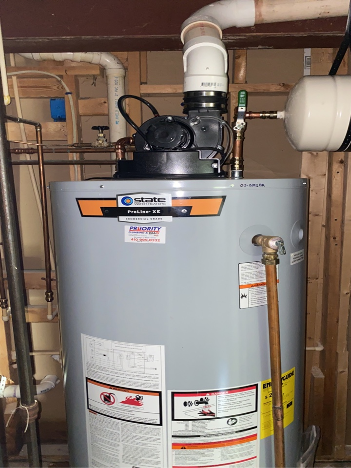 Millersville, MD - 75 gallon powervent install
