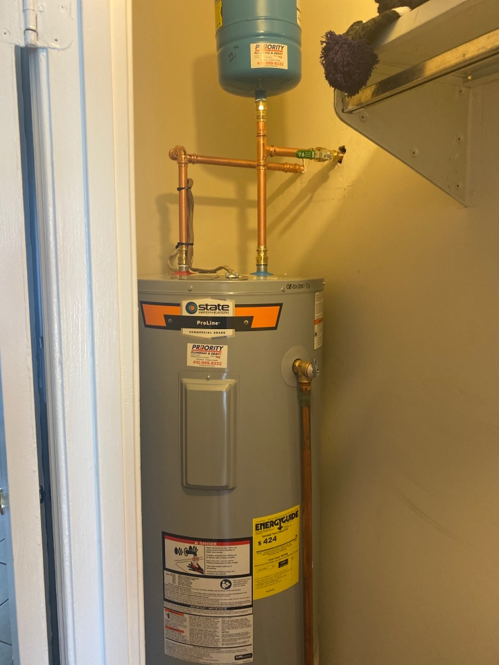 Crofton, MD - Replaced electric water heater.