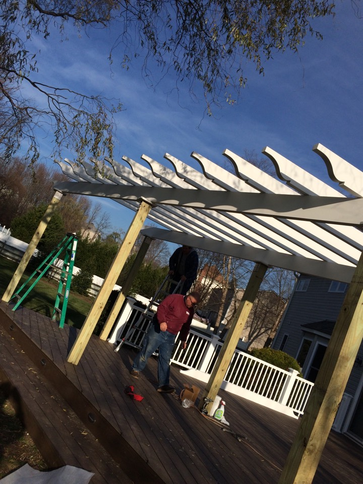 Monroe Township, NJ - Intex Millwork freestanding Pergola on the way up....Azek Railings and Decking underneath looking up