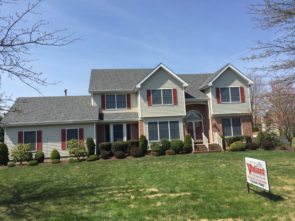 Monroe Township, NJ - Completely finished, Owens Corning TruDefinition SureNail roofing system.  Estate Grey fiberglass shingles will provide a lifetime of protection here in Monroe Township from our blustery winds and ice. (Global warming is a myth; just ask the Donald.)