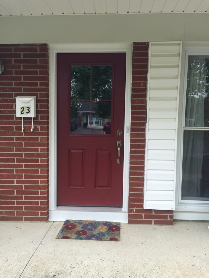Monroe Township, NJ - Here Valiant Home Remodelers eliminated the drafty, wooden warped entry door with a ProVia Heritage Textured Fiberglass door.   Energy Star qualified in 50 states.  Installed in Monroe Township
