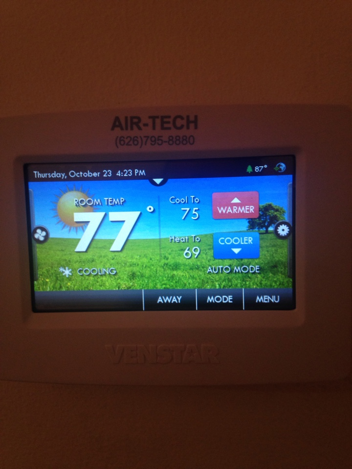 Rosemead, CA - Ac service call on Ventstar t5800 thermostat  residential customer