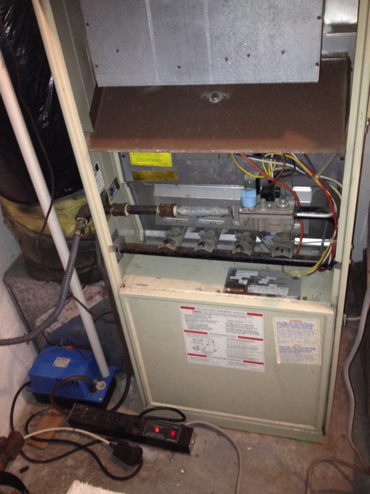 San Dimas, CA - Performing maintenance service on heat and air conditioning system