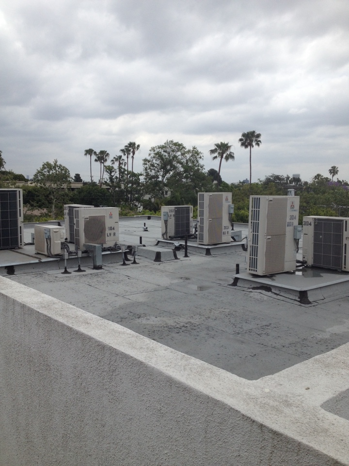 West Hollywood, CA - Performing maintenance service on two Mitsubishi ductless mini split systems