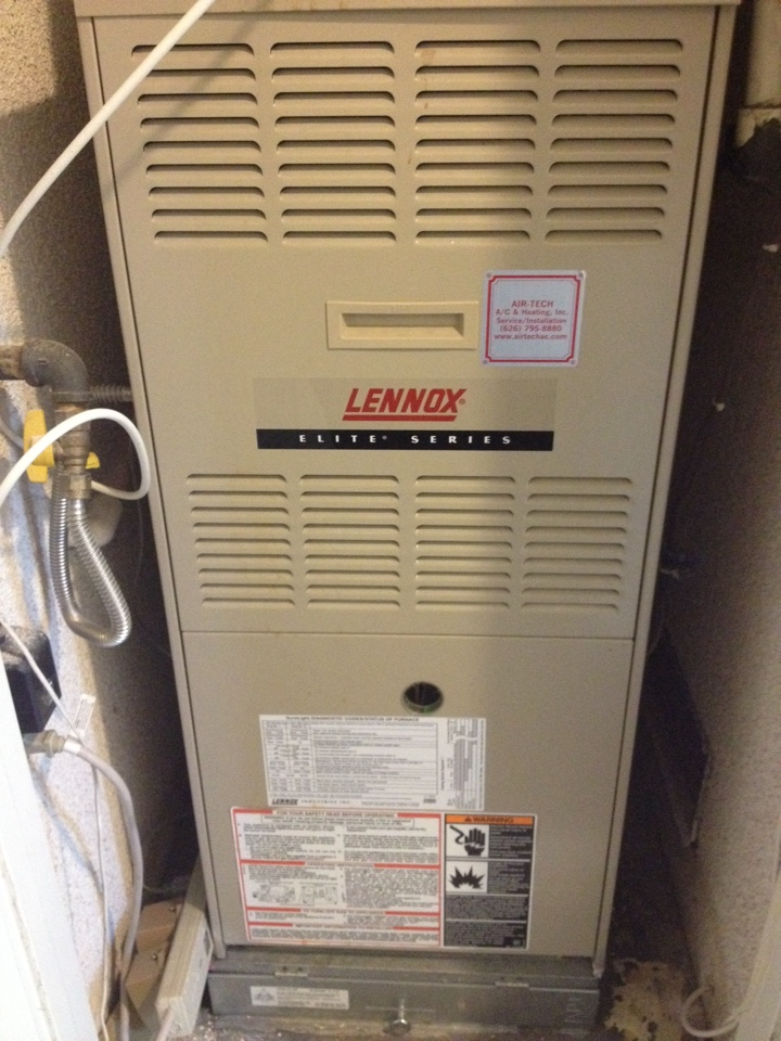 Yorba Linda, CA - Performing maintenance service on Lennix gas electric heating and air conditioning system
