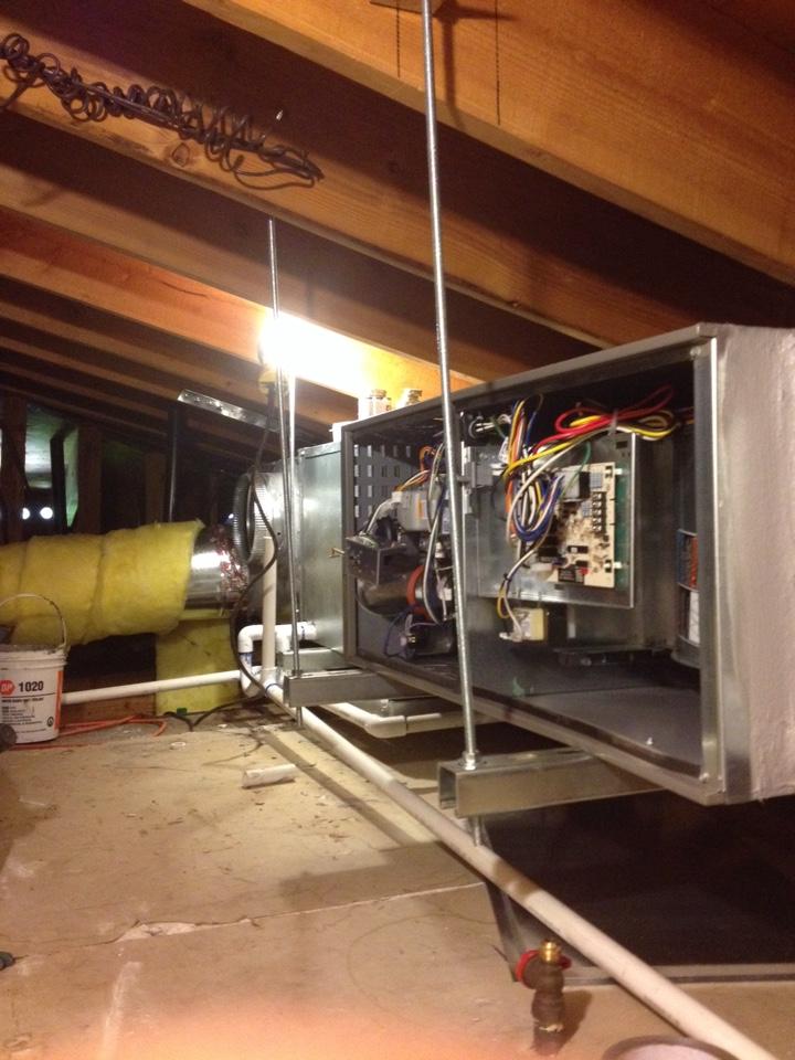 Monterey Park, CA - Installing new 3 ton Lennox horizontal furnace