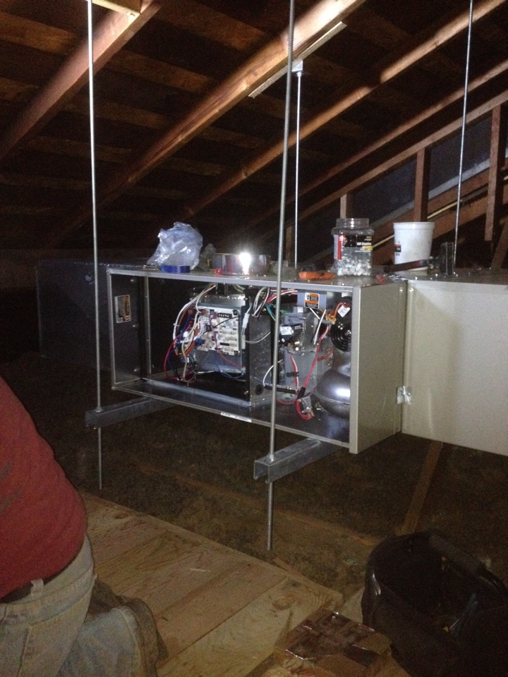 Pomona, CA - Installing new 3 ton BRYANT horizontal  furnace,coil and condenser