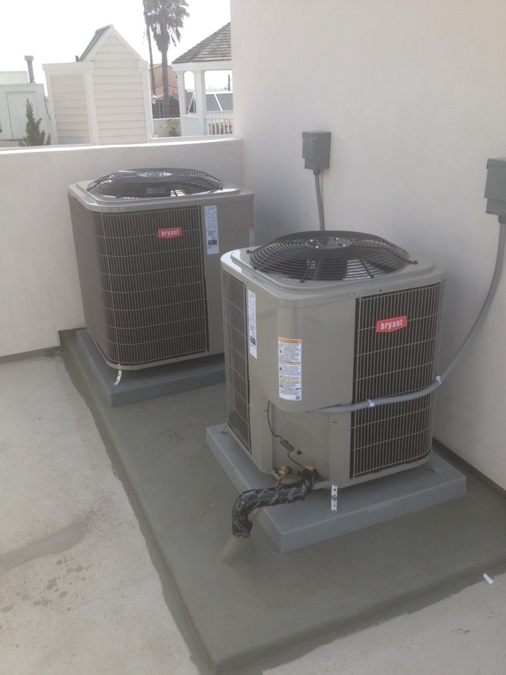 Long Beach, CA - Installing 2 new BRYANT air conditioning condensers