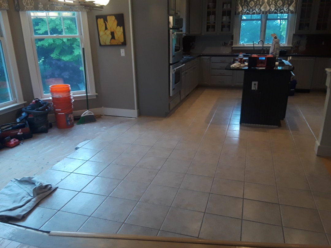 Cannon Township, MI - Today's big project . . .  Finish demolition of the tile floor for the remodel.