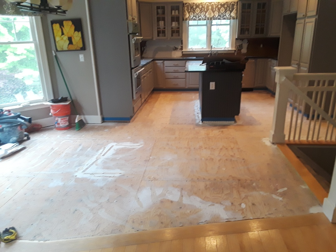 Cannon Township, MI - Ceramic tile floor has been removed in preparation for new engineered floor