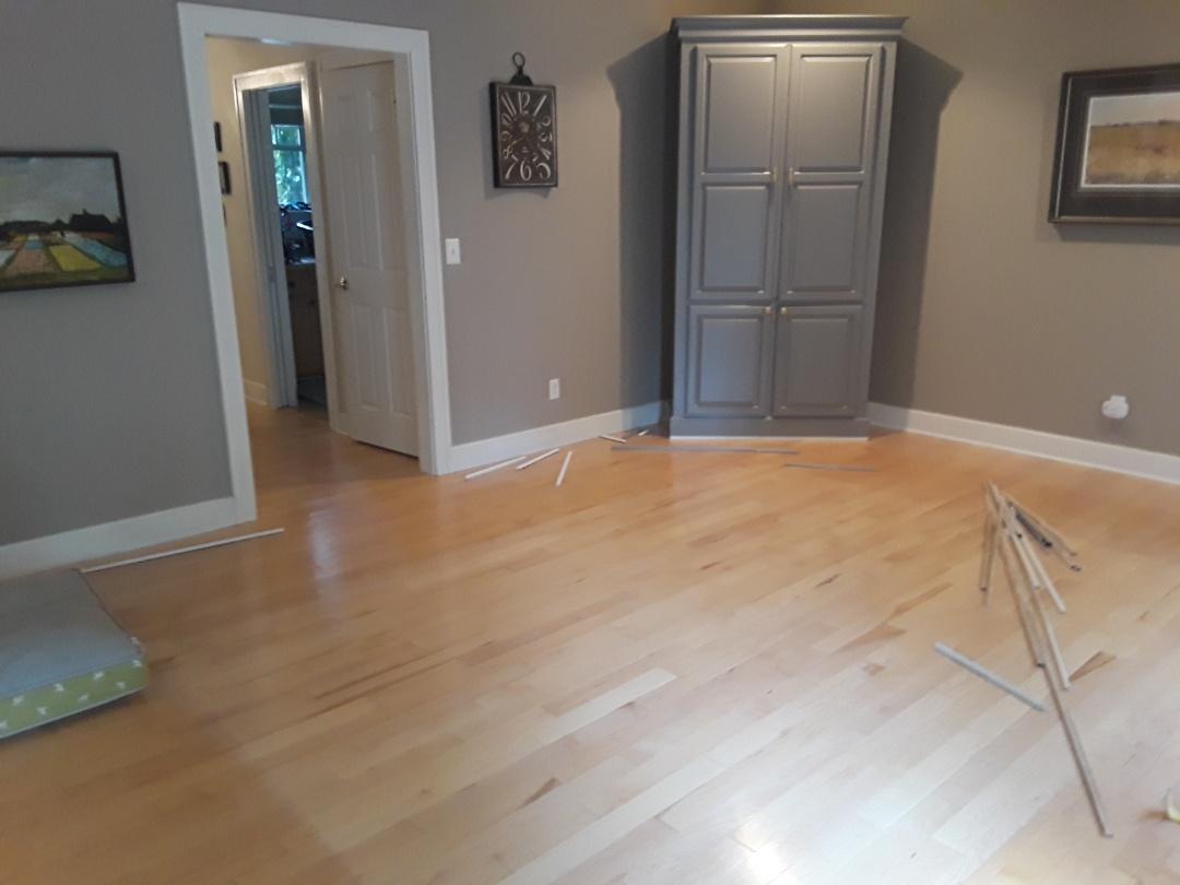 Cannon Township, MI - Preparing to remove hardwood floor in preparation for a new engineered floor.  I've started to carefully remove the shoe molding.