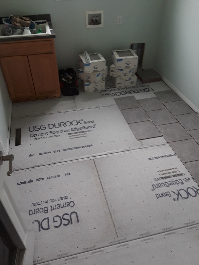Allendale Charter Township, MI - I laid the cement board today in preparation for installing ceramic  tile tomorrow.  The tile is roughly laid out so the homeowners can decide on the pattern they prefer.