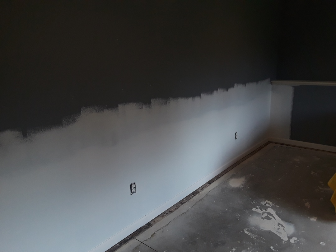 Allendale Charter Township, MI - Finished this water-loss.  I sanded, vacuumed and primed the drywall I replaced. I also installed the baseboard trim that was damaged
