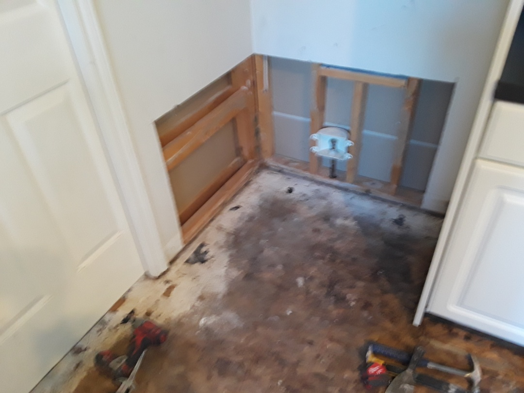Ada, MI - About to replace drywall damaged by a leaky refrigerator.  I already removed the affected areas.