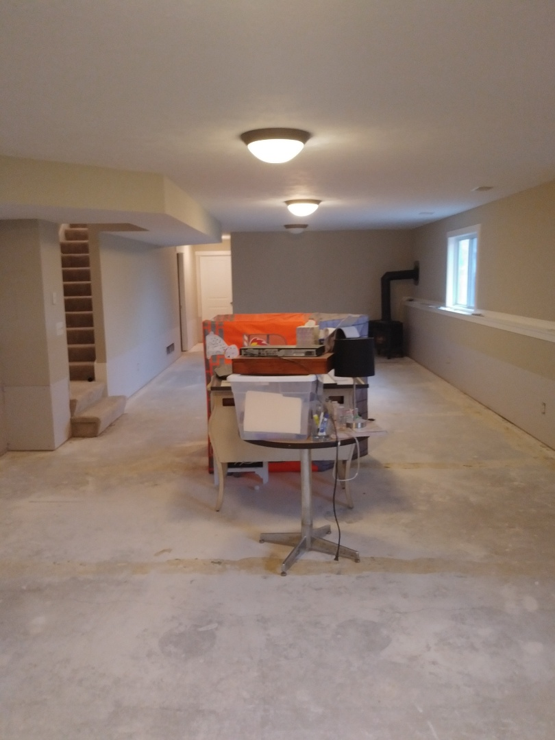 Walker, MI - Got a lot done.  Installed all the drywall in the basement