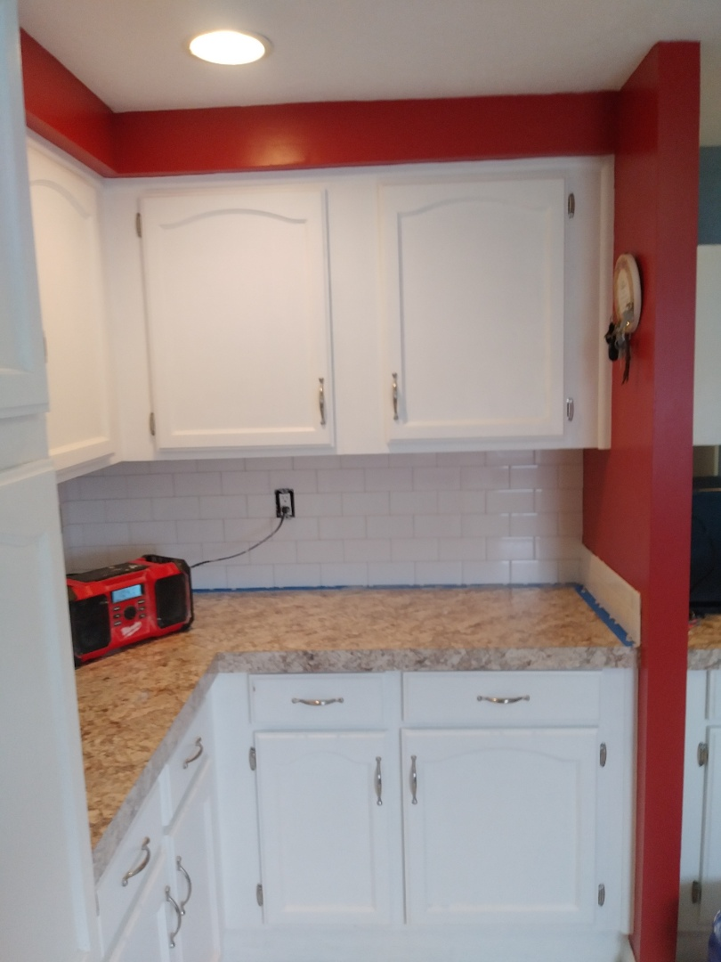 Middleville, MI - Finished laying tile on this section of new countertop