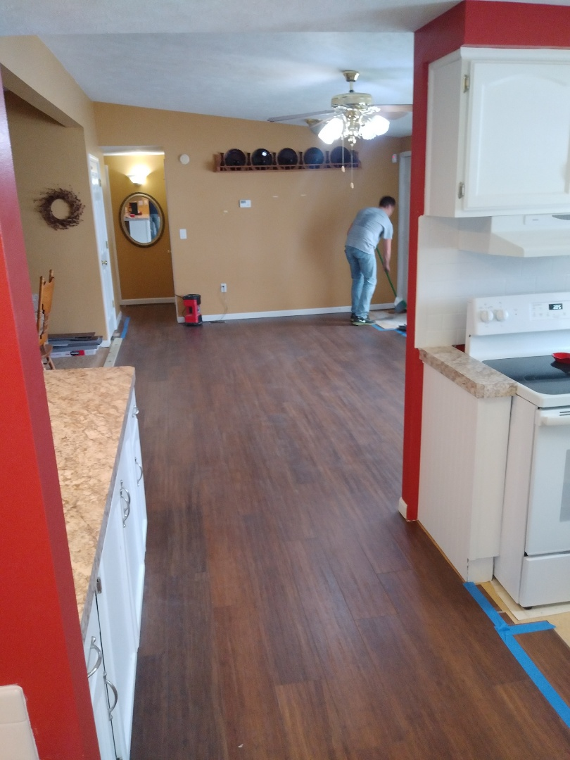 Middleville, MI - Made really good progress today.   Installed a large portion of the vinyl plank flooring.