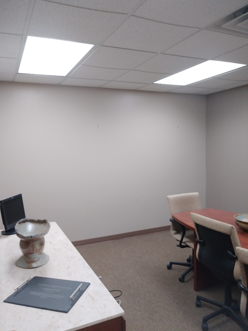 Grand Rapids, MI - Finished the local office today. Sanded, primed and painted, as well as reinstalled the vinyl base