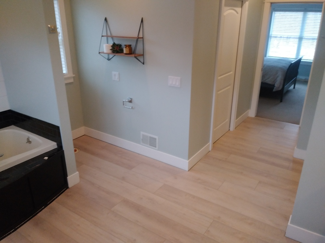 Allendale Charter Township, MI - The new floor is installed. I'll reinstall the shoe molding tomorrow.