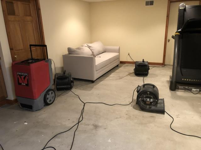 Grand Rapids, MI - 6 inches of water in basement. Drying is going smoothly.