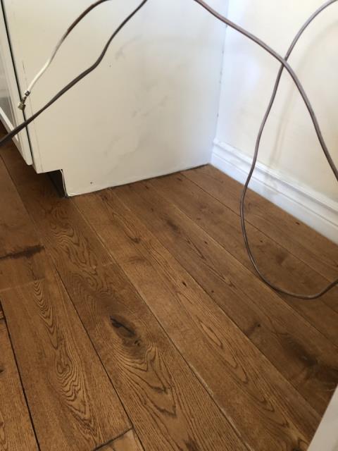 Grand Rapids, MI - Inspect water loss from broken water line to refrigerator. Water damage to hardwood floor in kitchen.