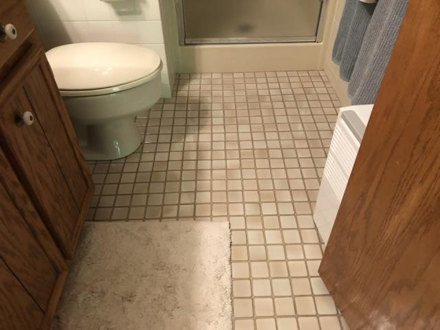 Grandville, MI - Water restoration completed. Water damage from toilet overflow. Carpet replaced and the tile cleaned.