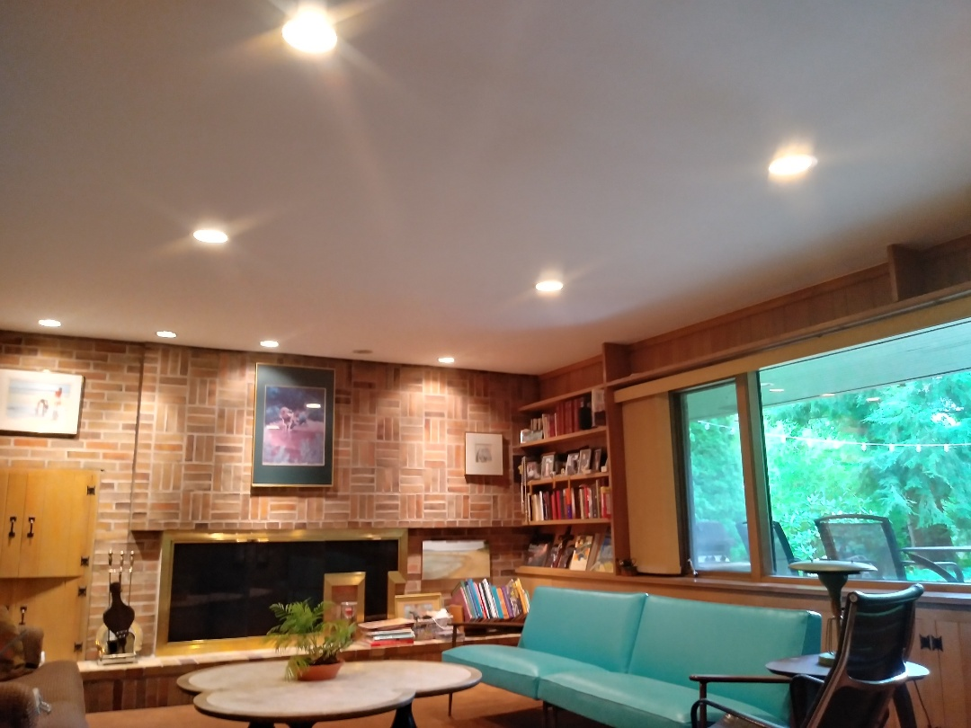 Grand Rapids, MI - The 2nd coat of ceiling white had been applied. The can light trim rings have been reinstalled. Everything has been cleaned up and vacuumed. The furniture has been put back in place.  My work here is done ??