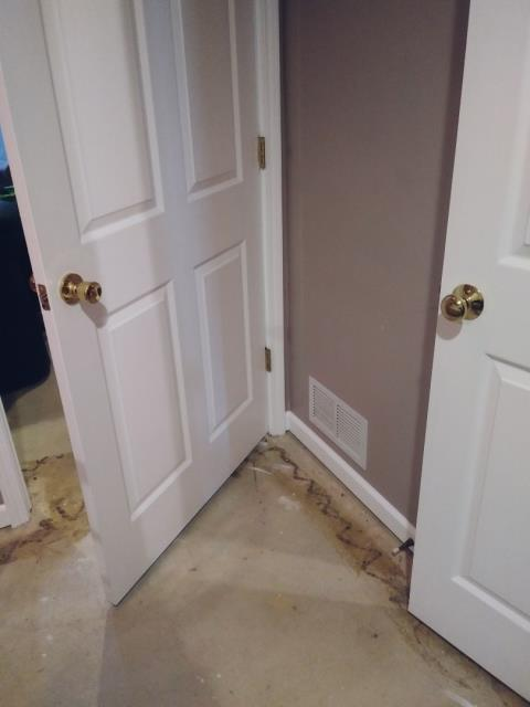 Grand Rapids, MI - Water damage to floor and wall.