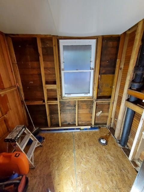 Grand Rapids, MI - Water damage restoration started. Replaced the subfloor.