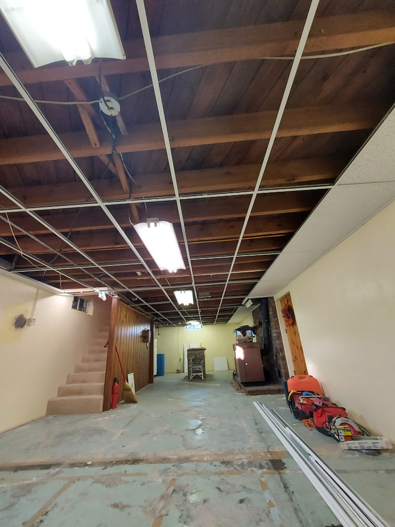 Wayland, MI - Made good progress today. Hung all the grid and installed all the wall angle. Even installed a few ceiling tiles.