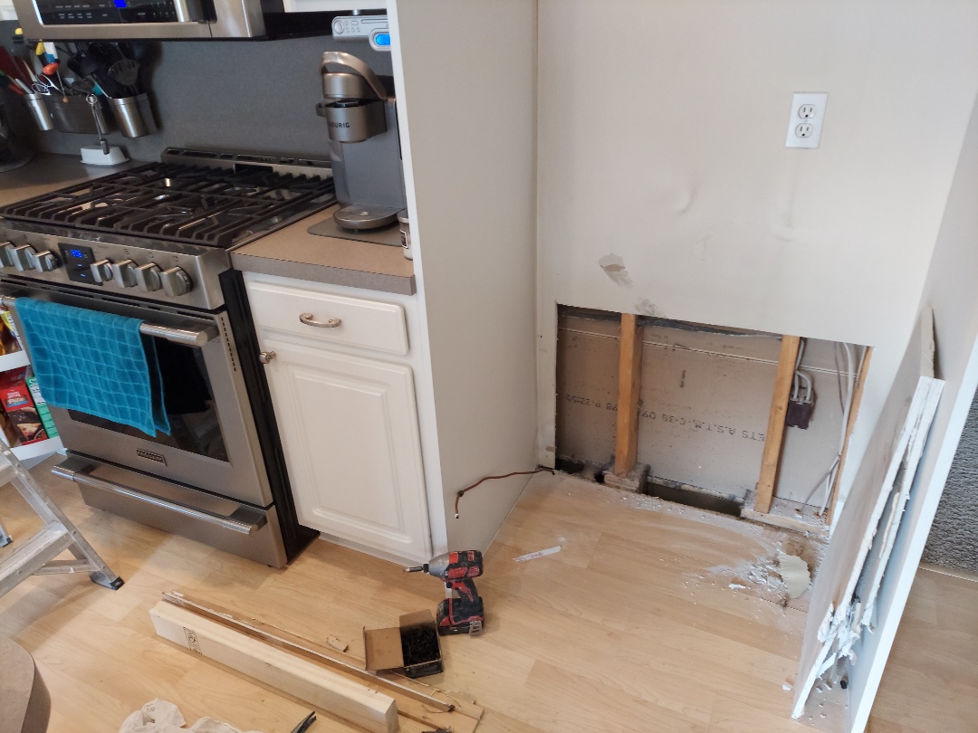 Byron Center, MI - Repairing damage caused by a leaking refrigerator.