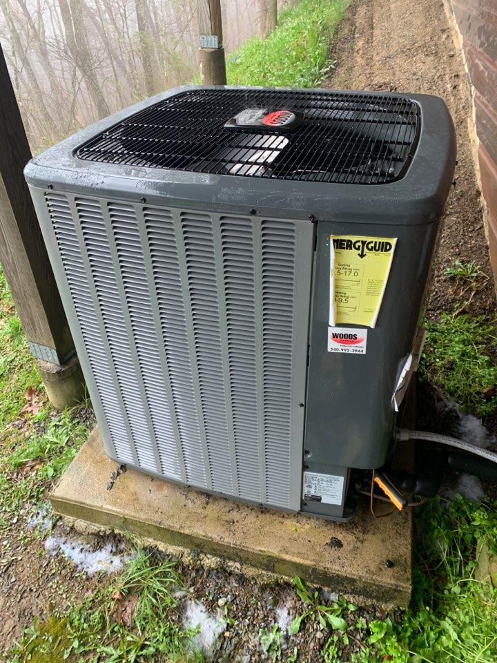 Fincastle, VA - Maintenance on Amana heat pump in fincastle va basement