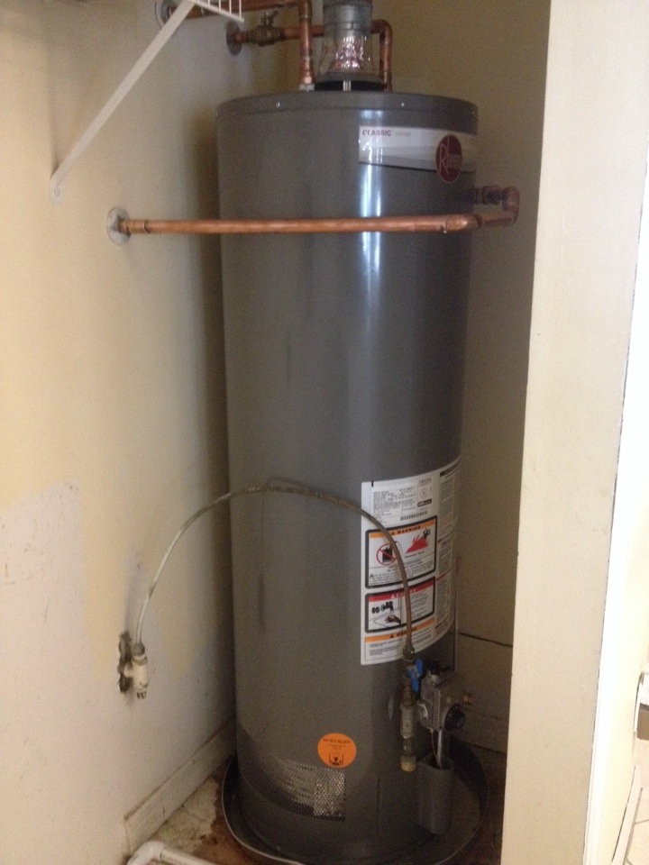 rheem water heater 40 gallon. indiantown, fl - installed a 40 gallon rheem natural gas water heater and 22\ r