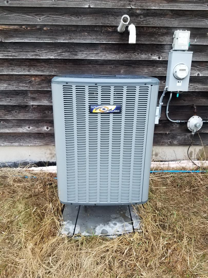 Corcoran, MN - AC maintenance. Performed cleaning and tune up on a Comfort Matters AC. Installed drain pan treatment and a single UV bulb air purification system