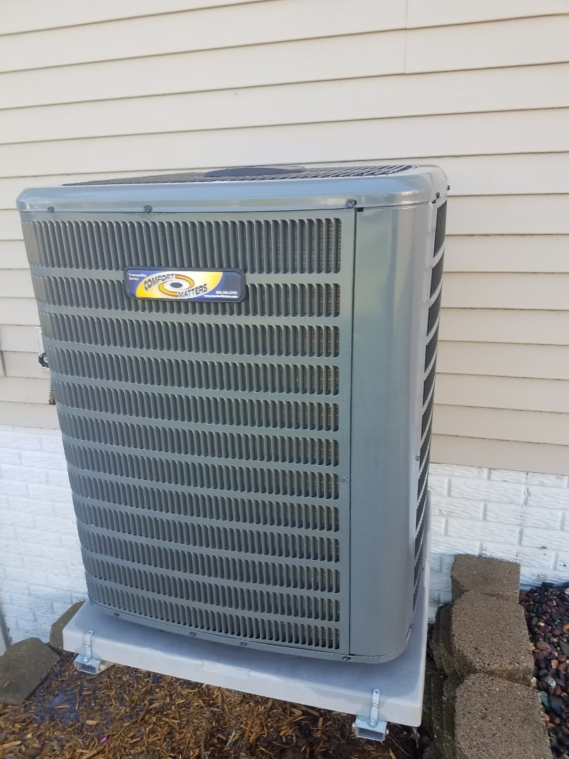 Hanover, MN - Cooling maintenance. Performed tune up and cleaning on a Comfort Matters AC. Installed drain pan treatment.