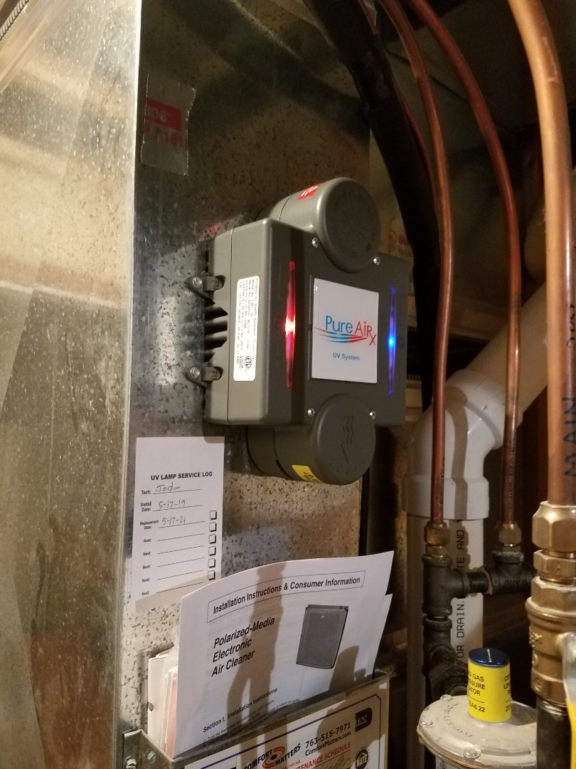 Otsego, MN - Furnace maintenance. Installed a PureAirX electronic air cleaner and UV bulb system. Installed a universal motor booster, locking refrigerant caps drain pan treatment and cleaned the blower wheel