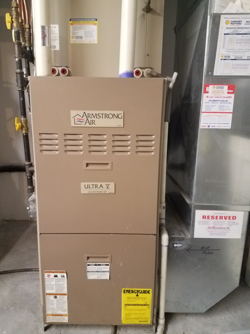 Albertville, MN - Heating maintenance. Performed cleaning and tune up on a Armstrong Air furnace.