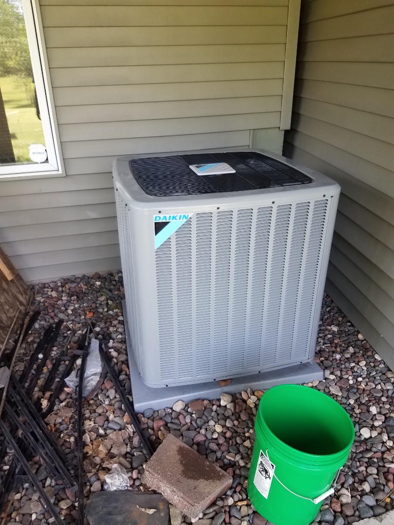Otsego, MN - AC maintenance. Installed new indoor coil on a Daikin air conditioner.