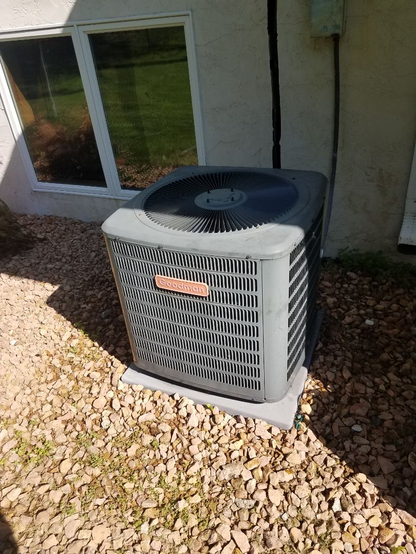 Maple Grove, MN - Found Goodman ac low on charge, added leak sealant to system and charged back to factory specifications. Performed ac tune up and cleaning in Maple grove