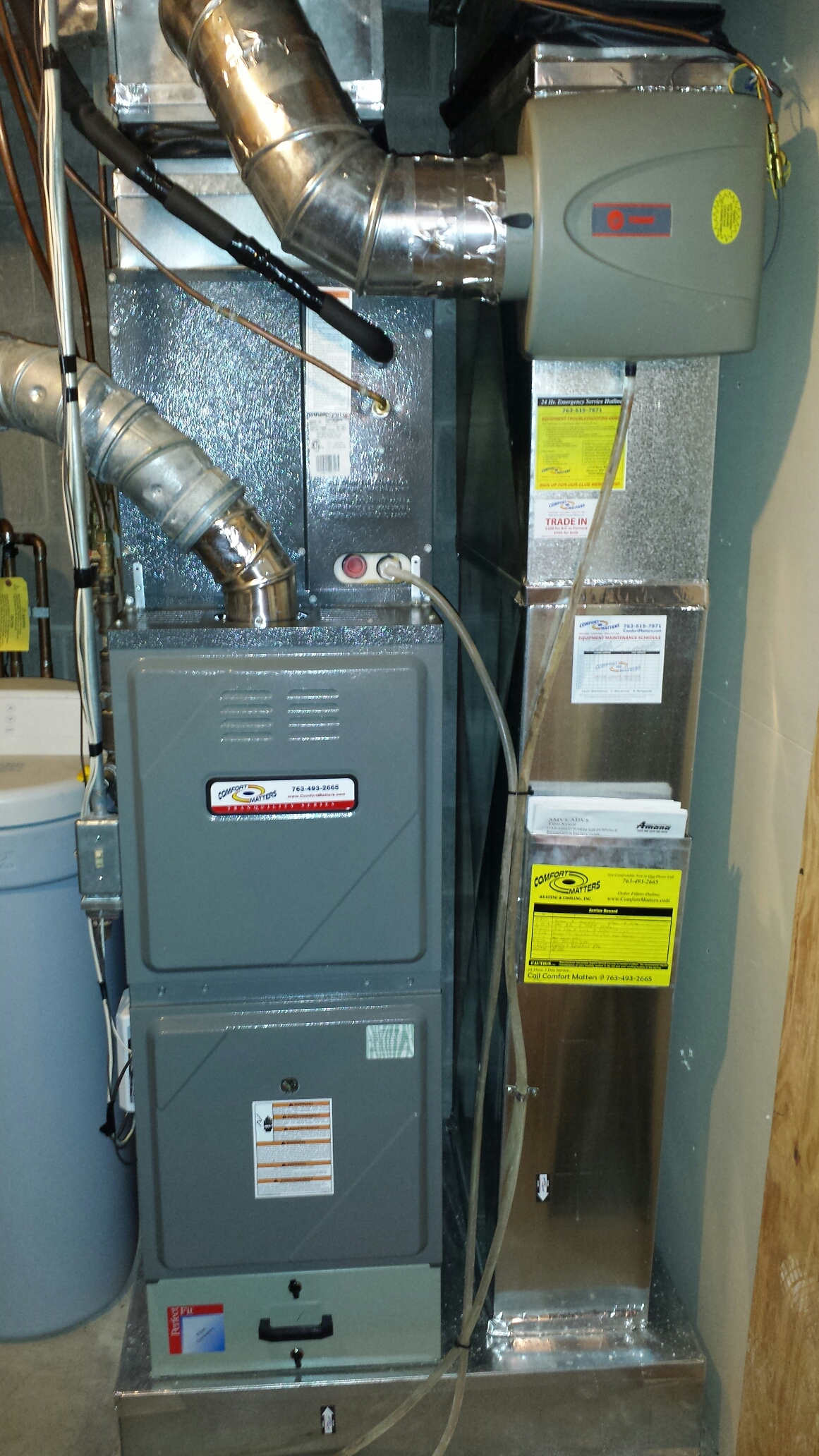 Fridley, MN - Furnace maintenance. Performed a cleaning and tune up on a Comfort Matters furnace. Also replaced a Trane Perfect Fit media filter and a Trane humidifier madia pad.