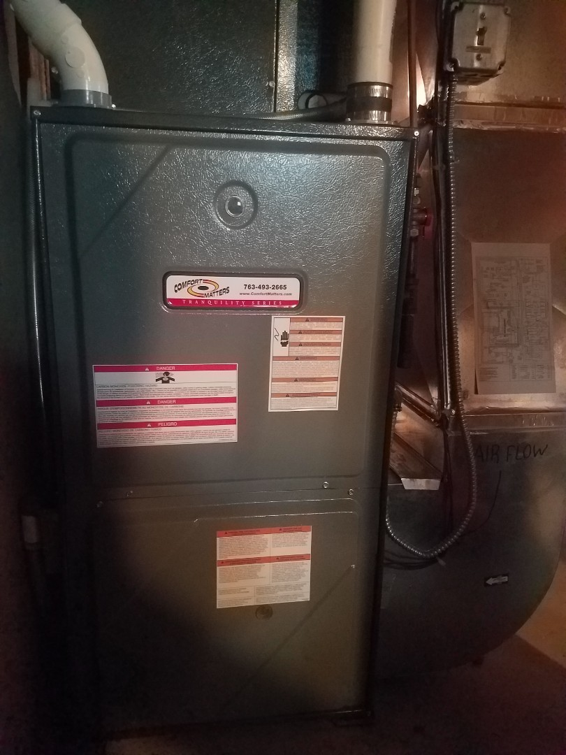 Maple Lake, MN - Furnace maintenance. Performed cleaning and tune up on a Comfort Matters furnace. Installed drain pan treatment and cleaned indoor blower wheel