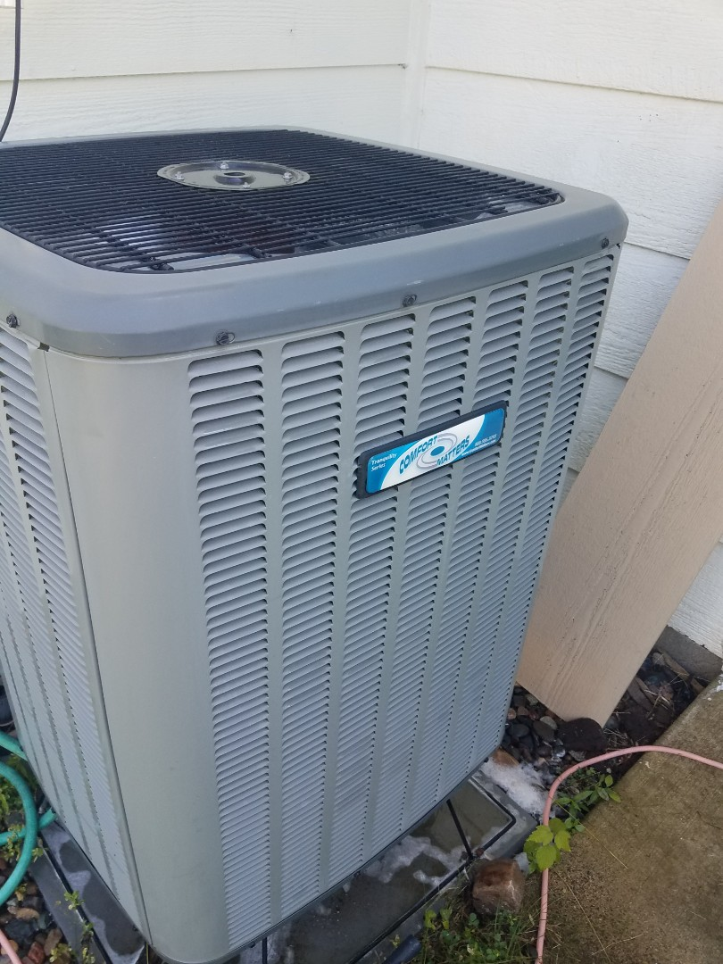 Buffalo, MN - Cooling maintenance. Performed tune up and cleaning on a Comfort Matters AC.