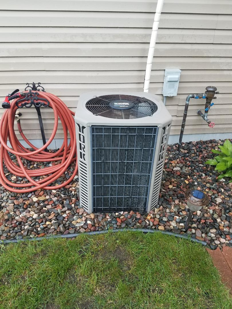 Hanover, MN - Cooling maintenance. Performed tune up and cleaning on a York AC. Installed blower motor starter and cleaned the blower wheel