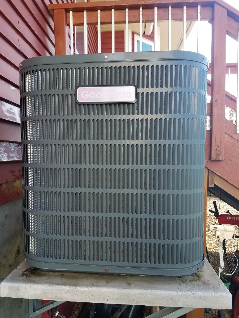 Albertville, MN - AC maintenance. Performed tune up and cleaning on a Goodman AC.
