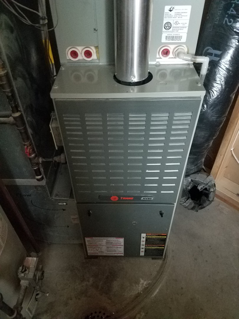 Hanover, MN - Furnace maintenance. Performed cleaning and tune up on a Trane furnace.
